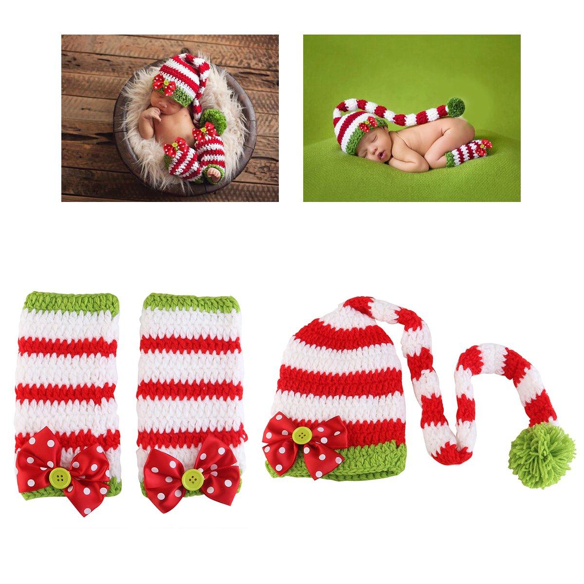 Nuolux Kost/üm f/ür Neugeborenen-Fotografie H/äkelm/ütze und Kleidung f/ür Baby am Weihnachtstag Requisiten