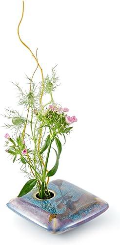 Georgetown Pottery Square Ikebana Flower Vase, Dark Purple Zen