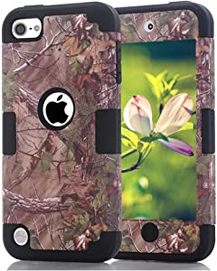 Case for iPod Touch 5 6 Case, CheerShare Dual Layered Hard PC Case + Silicone Shockproof Heavy Duty High Impact Armor Case Cover Protective Case for Apple iPod Touch 5th 6th Generation (Brown+Black)