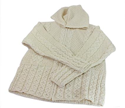 4da3bc684 Aran Sweater Hoodie Zipper Cardigan Wool Womens Irish Made at Amazon ...