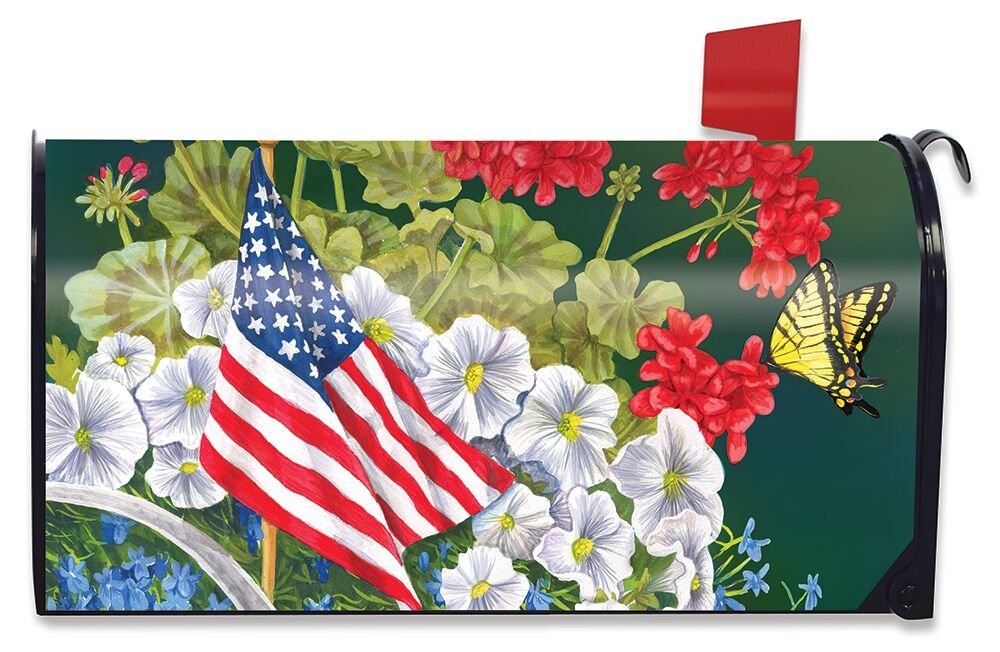 Briarwood Lane American Garden Summer Large Magnetic Mailbox Cover Patriotic Oversized