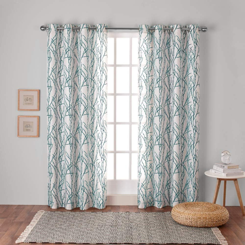 Exclusive Home Curtains Branches Linen Blend Window Curtain Panel Pair with Grommet Top, 54x84, Teal, 2 Piece