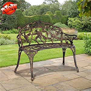 """ZMIHANNA Stronger & More Weather Resistant 38.5"""" Patio Park Garden Outdoor Metal Rose Bench, Front Porch Benches Garden Metal Loveseat Patio Furniture for 2 Person Seat, Rose Carving (Bronze)"""