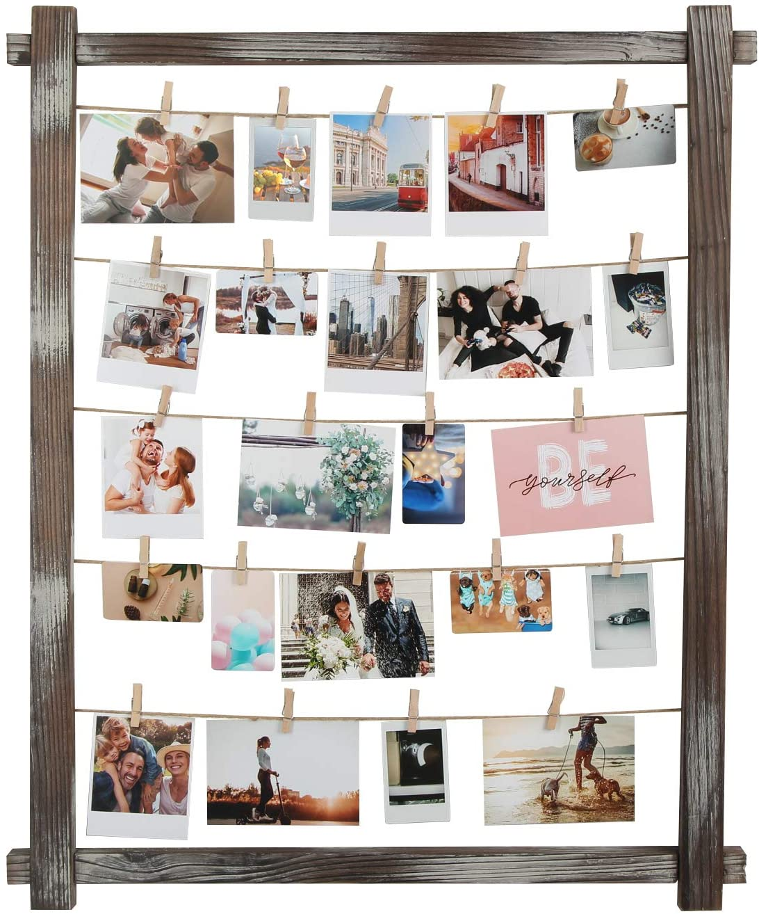 J JACKCUBE DESIGN Rustic Wood Frame Photo Holder Hanging Picture Collage Board for Multi Photo Display Wall Decor with 35 Clips -MK562B