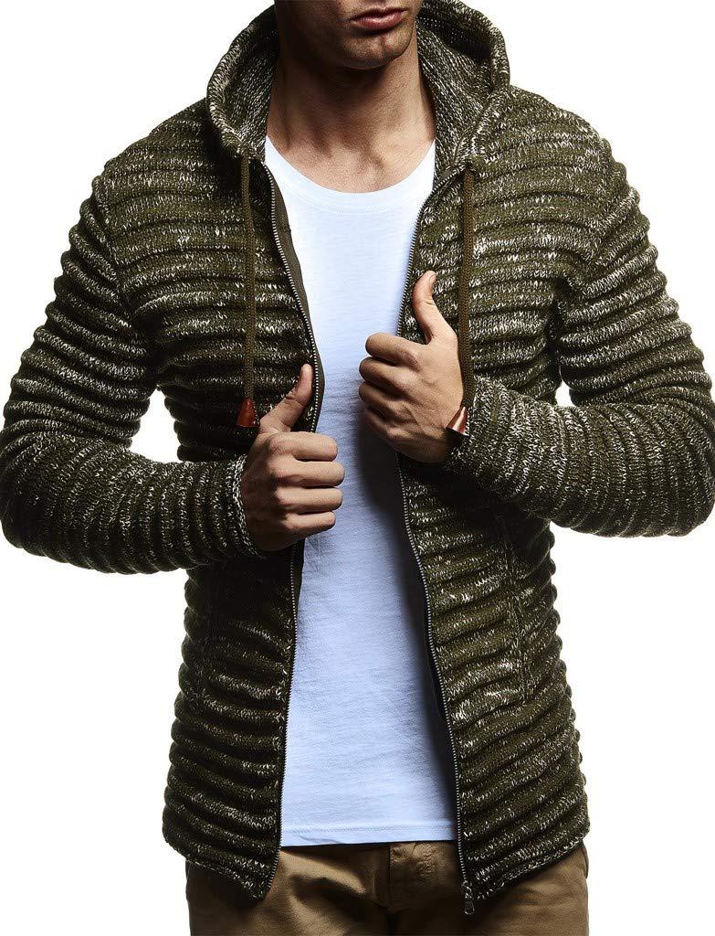 LEIF NELSON Men's Knitted Jacket Cardigan Pullover Jumper Sweater Hoodie Long Sleeve Sweatshirt Long Sleeve Slim fit LN20724