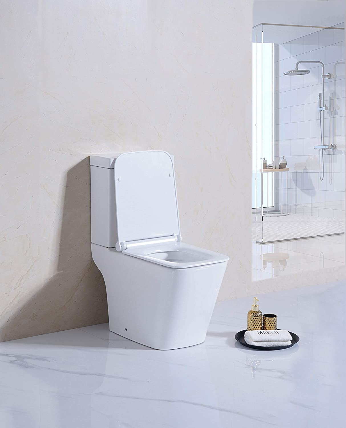 Rimless Open Back Toilet Close Coupled WC White Ceramic Soft Close Seat Modern Horizontal ECO Dual Flush