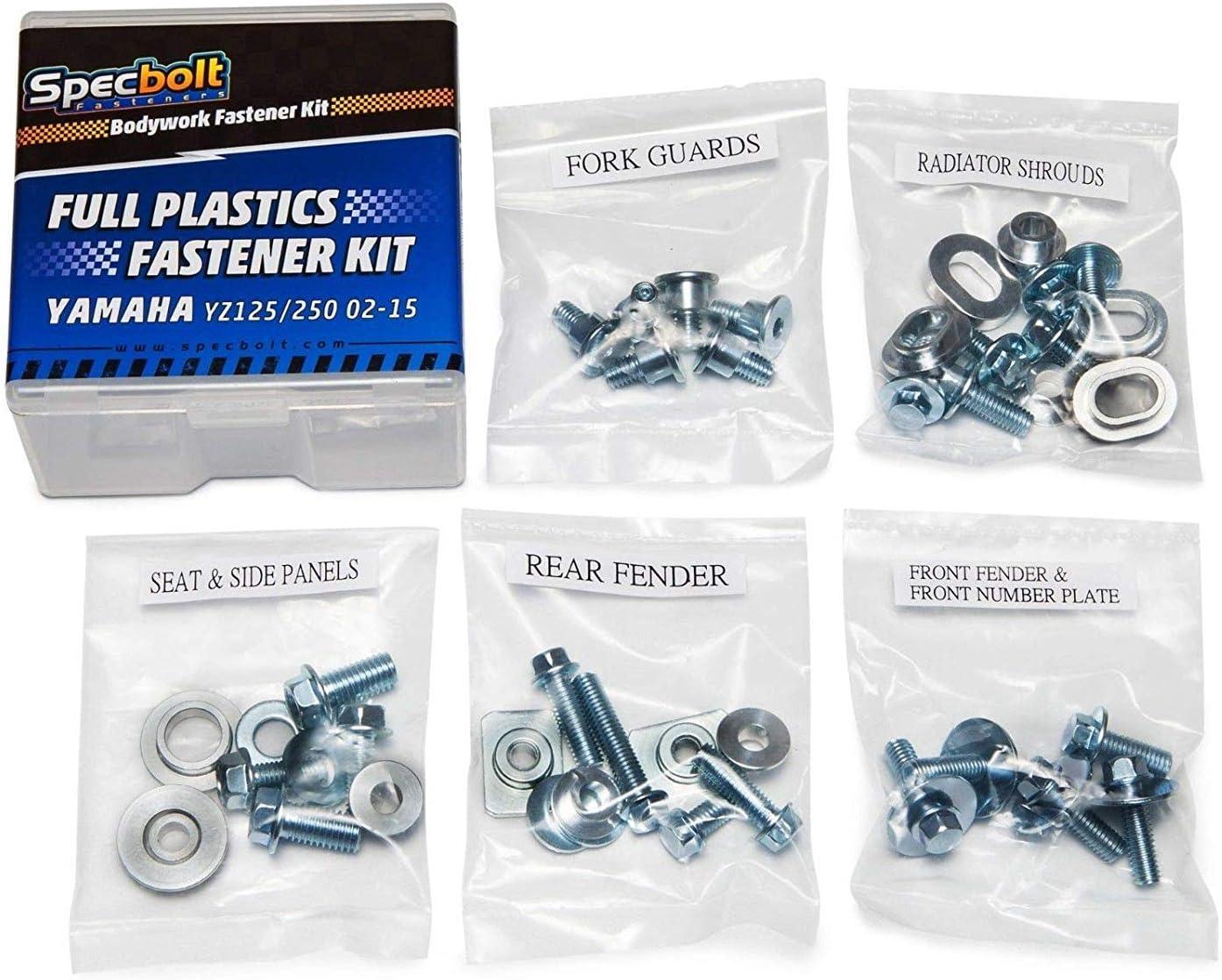 YZ125 YZ250 #67 2002-2014 Specbolt Fasteners Full Body /& Plastics Yamaha Bolt Kit