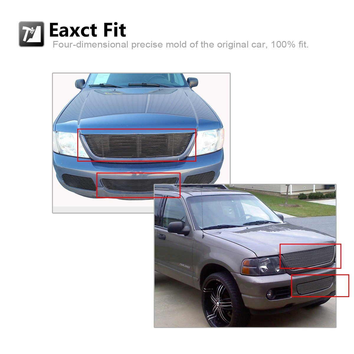AUTEX Main Upper+Lower Bumper Billet Grille Grill Combo Compatible with Ford Explorer 2002 2003 2004 2005 F87989A