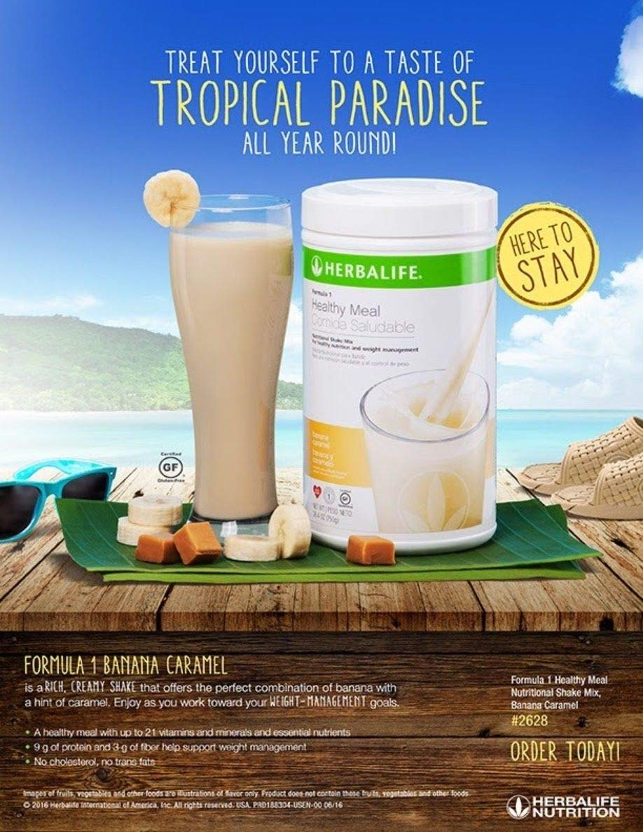 NEW FLAVOR Healthy Meal Nutritional Shake Mix - Banana Caramel 26.4oz by herbalife (Image #1)