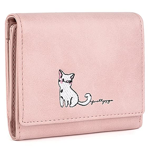 UTO Womens PU Leather Cute Cat Wallet Card Holder Zipper Coin Purse Snap S Pink at Amazon Womens Clothing store: