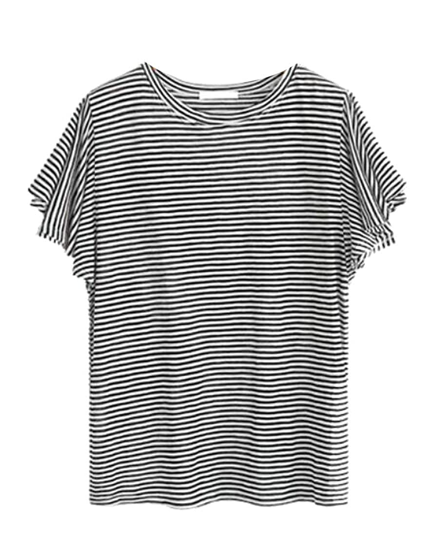 255a57a0d2db56 Suncolor8 Womens Ruffle Stripe Plus Size Short Sleeve Loose Casual Top T- Shirt Blouse at Amazon Women's Clothing store:
