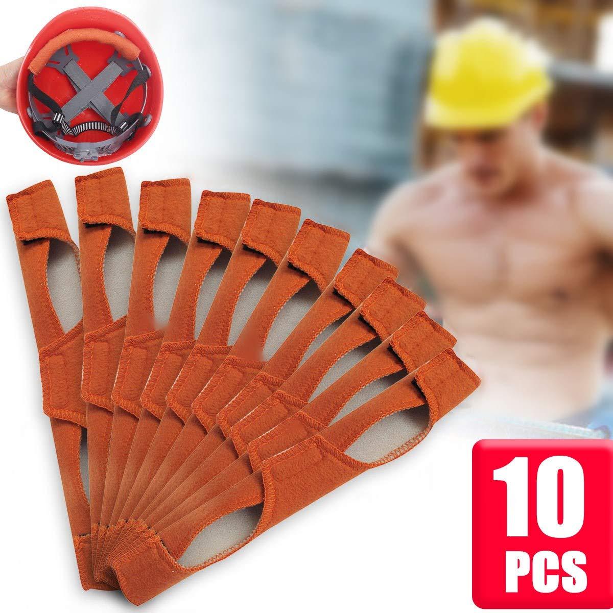 HAPYLY 10PCS Sweatband welding Brown Sweatband Hard Hat Headbands for Welding Helmets,Cycle Ricing,Hard Hat 25x9.5cm