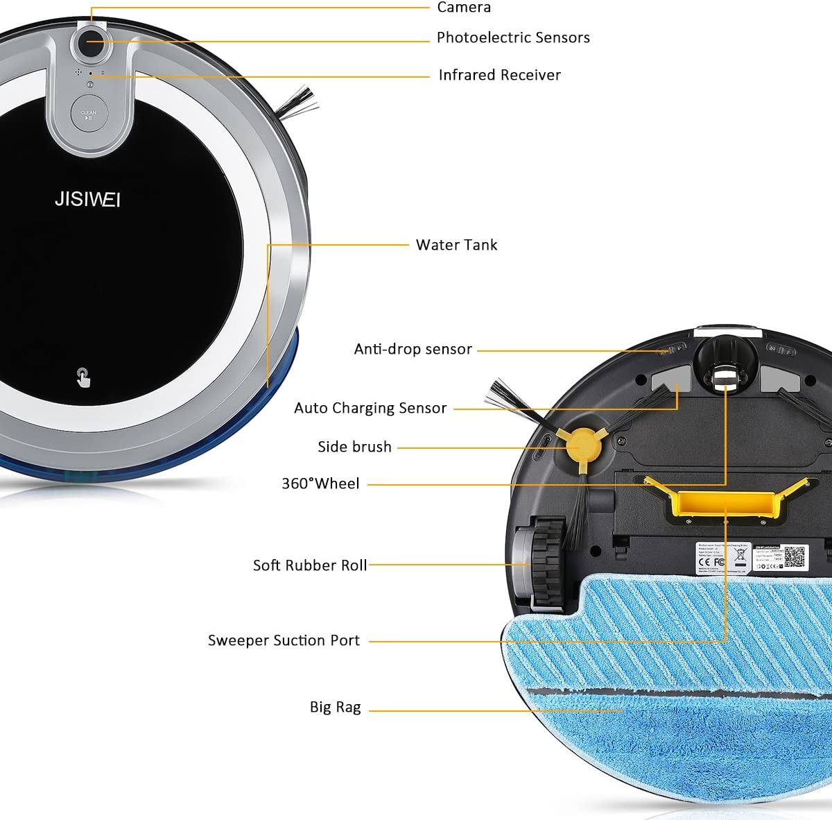 JISIWEI I3 - Robot Aspirador con Cámara HD Incorporada (APP Remoto ...
