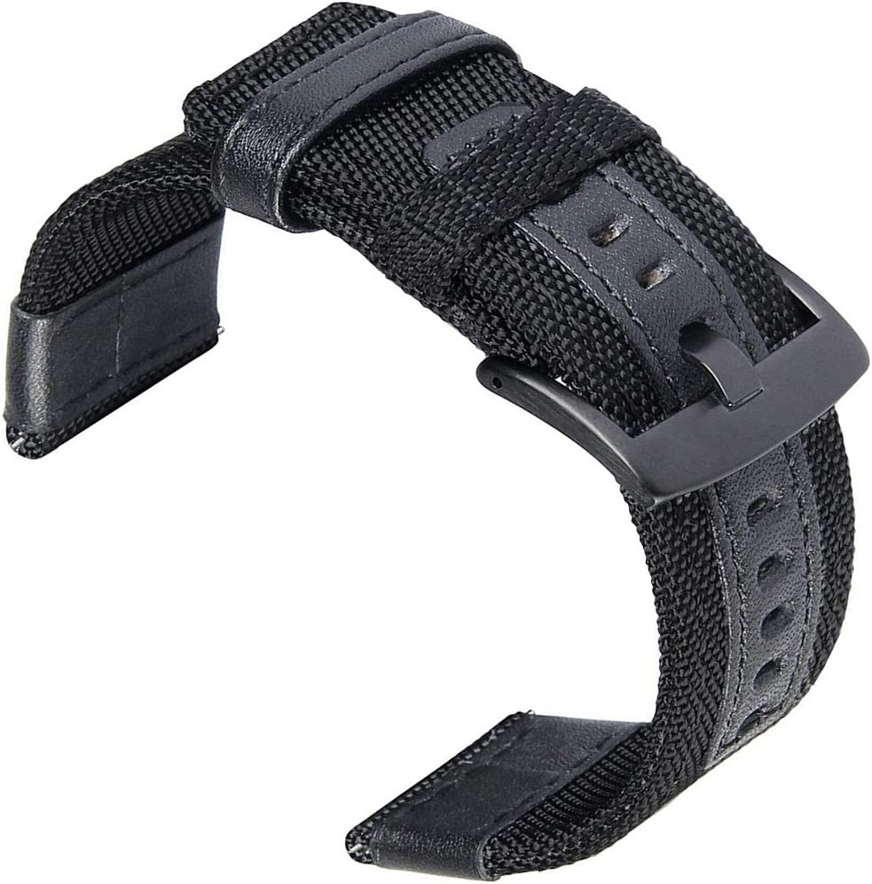 24mm Watch Bands, OTOPO 24mm Quick Release Watch Band Premium Nylon Woven with Leather Replacement Wrist Band Strap for Suunto Traverse and Any Watches with 24mm Lug Smartwatch (24mm, Black)
