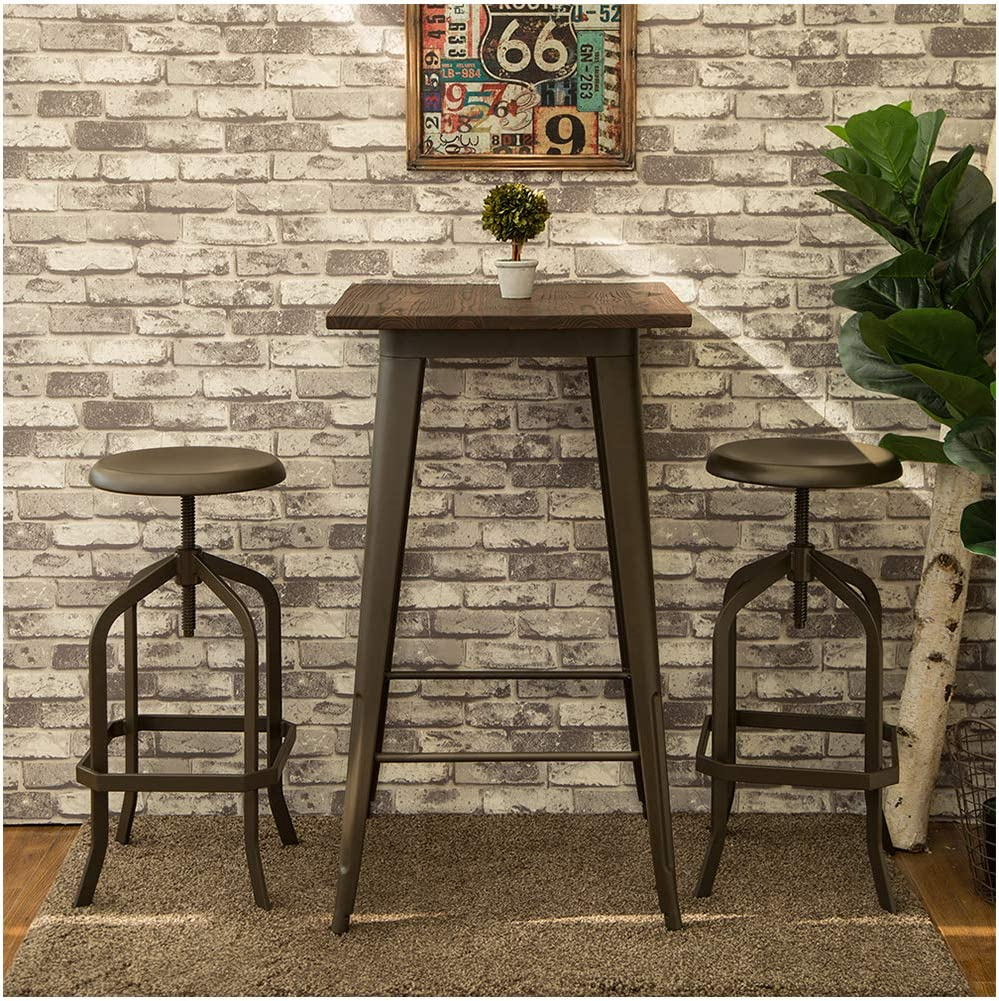 Glitzhome Vintage Bar Stool Adjustable Industrial Rustic Metal Seat Metal Dining Chair Metal Seat 1