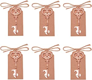 Yansanido Pack of 50 Skeleton Key Bottle Opener with Escort Tag Card and Twine for Wedding Favors for Guests Party Favors-Rose Gold