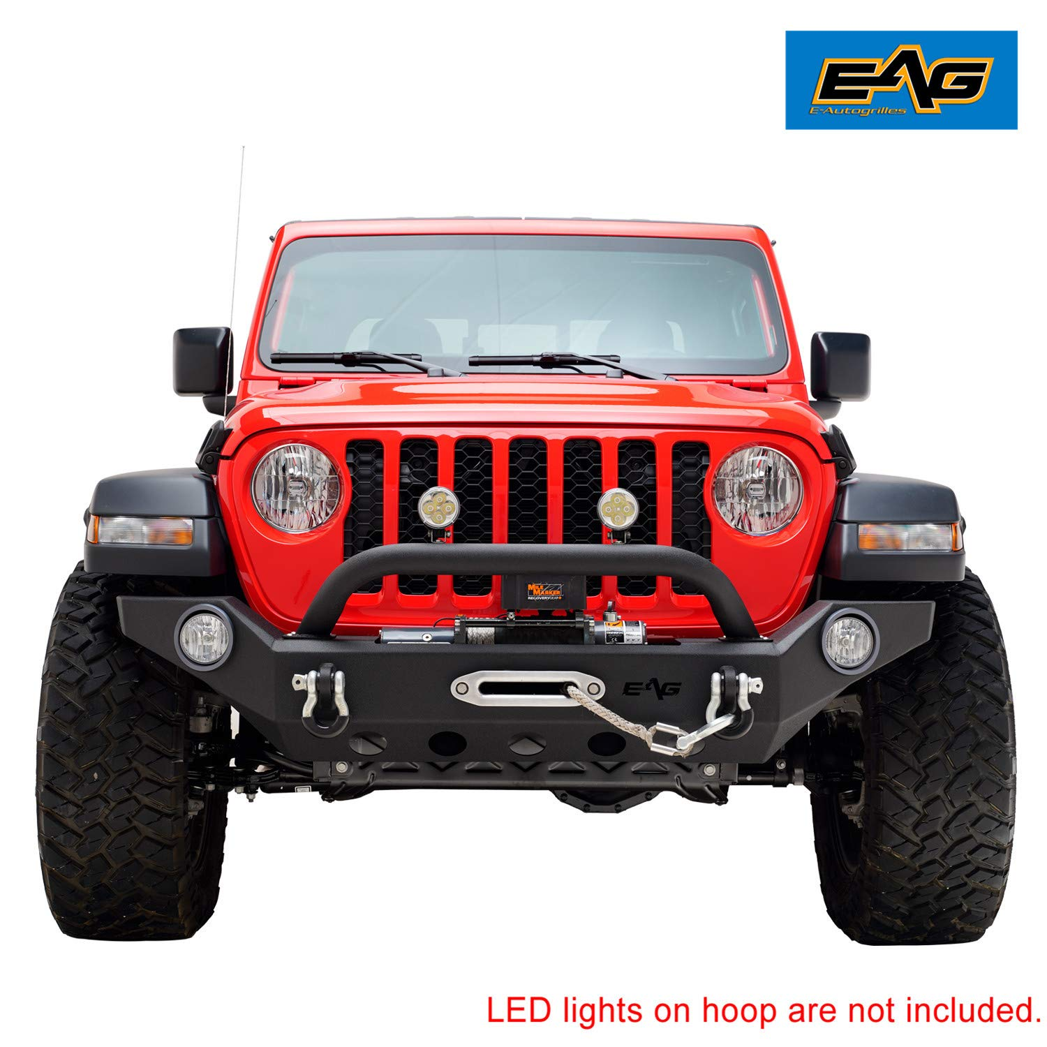 EAG Front Bumper with Fog Light Hole and D-Ring Fit for 2020 Jeep Gladiator JT