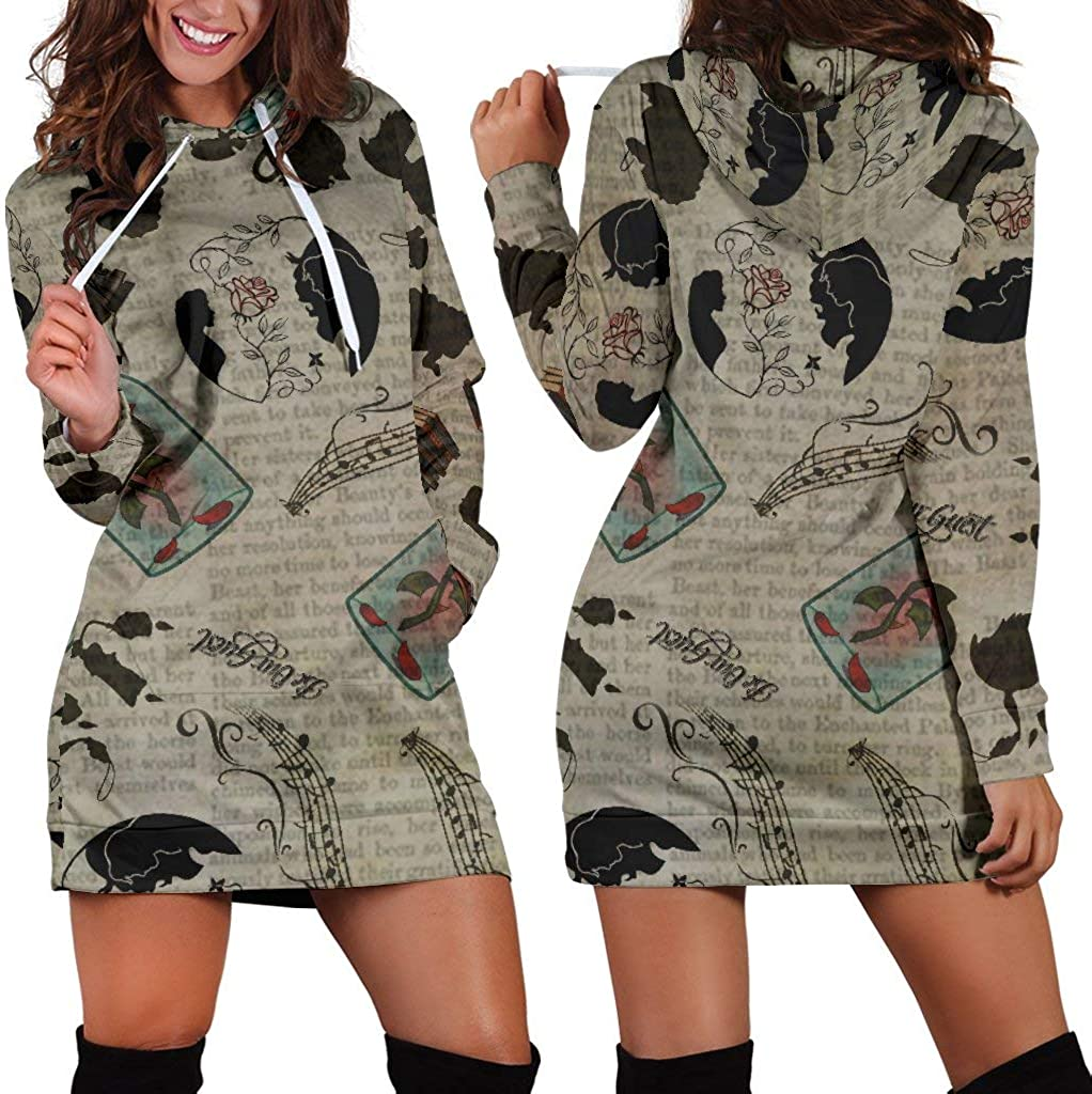 Studio11Couture Women Hoodie Dress Hooded Tunic Beauty Beast Athleisure Sweatshirt