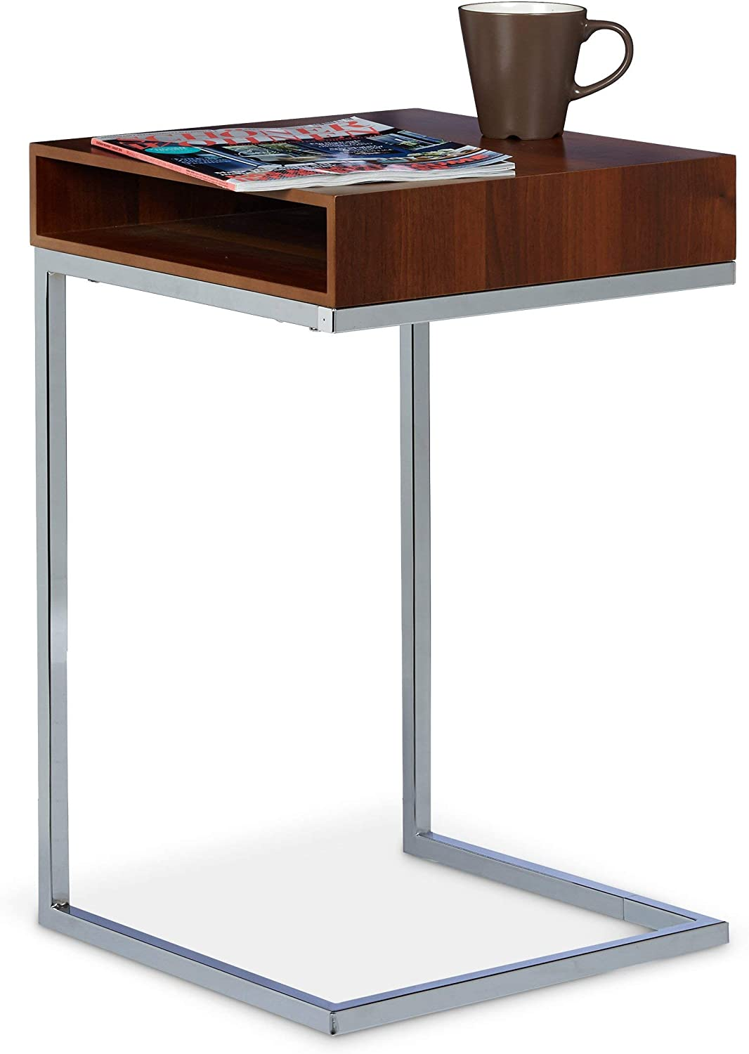 Relaxdays Mesa Auxiliar con Compartimento Lateral, Metal, Natural, 38x37x61 cm