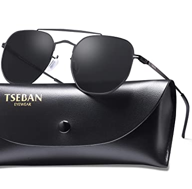 736179242b3f TSEBAN UV400 Sunglasses for Women with Ultralight Metal Frame and HD  Mirrored Polygon Lens for Driving