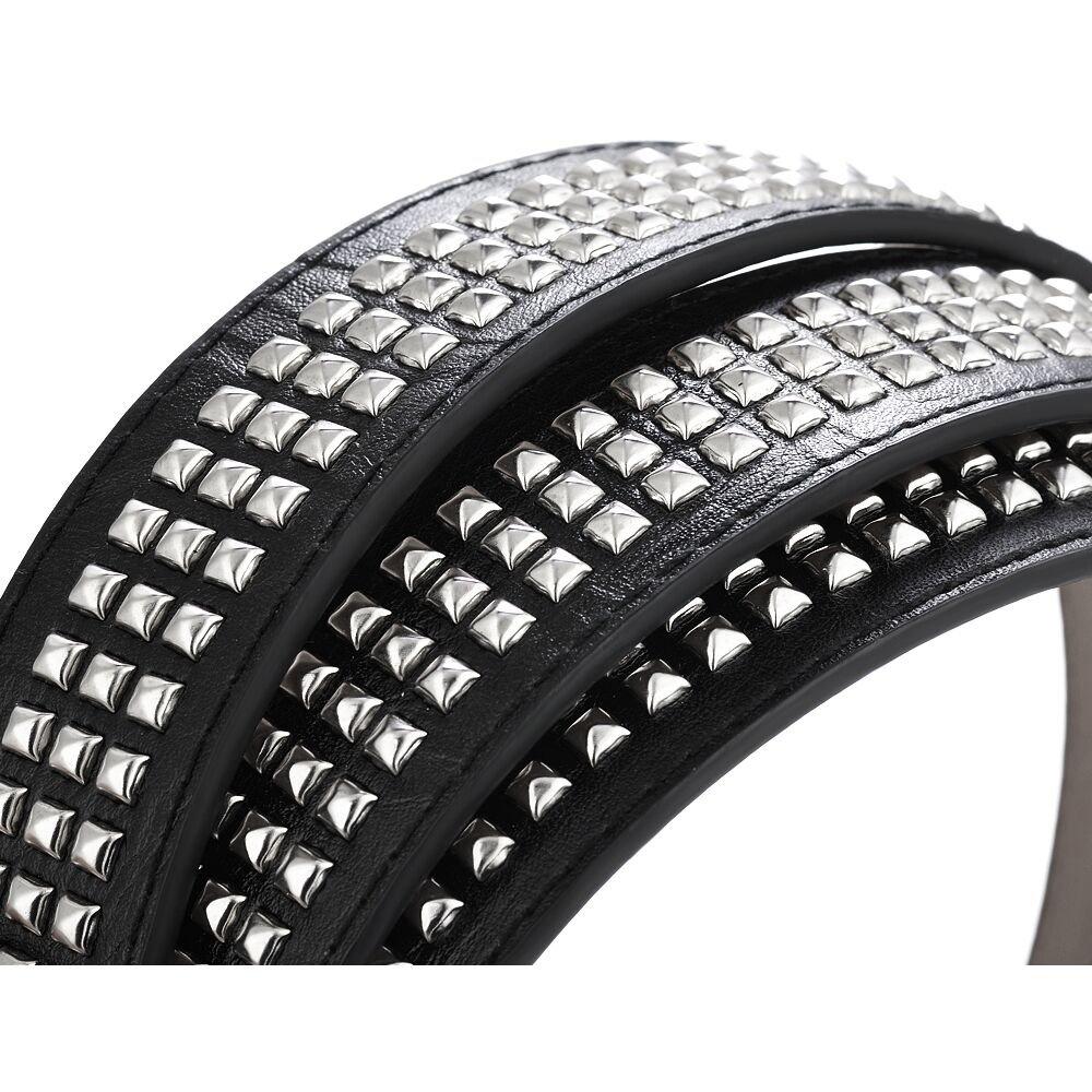 WedDecor Women Black Leather Waist Belt PU Stylish Fashion Pyramid Punk Rock Rivet Studded Design