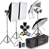 NEEWER 750W Professional Photographic Studio Strobe Flash Light Kit - Barn Door, Soft Box, Umbrellas, Stands, Lamps, Trigger & More