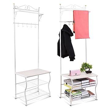 Kleiderständer Weiß Metall amzdeal garderobenständer aus metall kleiderständer kleiderstange