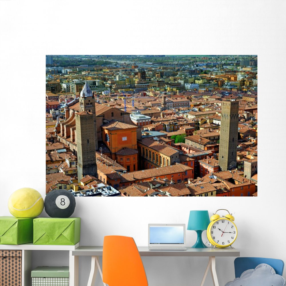Wallmonkeys Italy Bologna Aerial View from Asinelli Tower Wall Decal Peel and Stick Graphic WM303727 18 in W x 12 in H