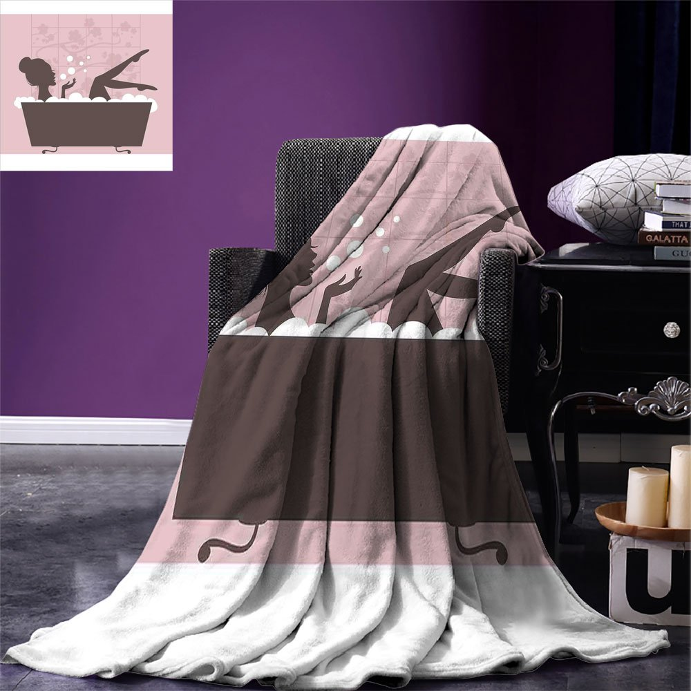 smallbeefly Teens Girls Digital Printing Blanket Beautiful Woman in Bath Tub Spa Treatment Relaxing Concept Vintage Style Summer Quilt Comforter Pink Dark Grey