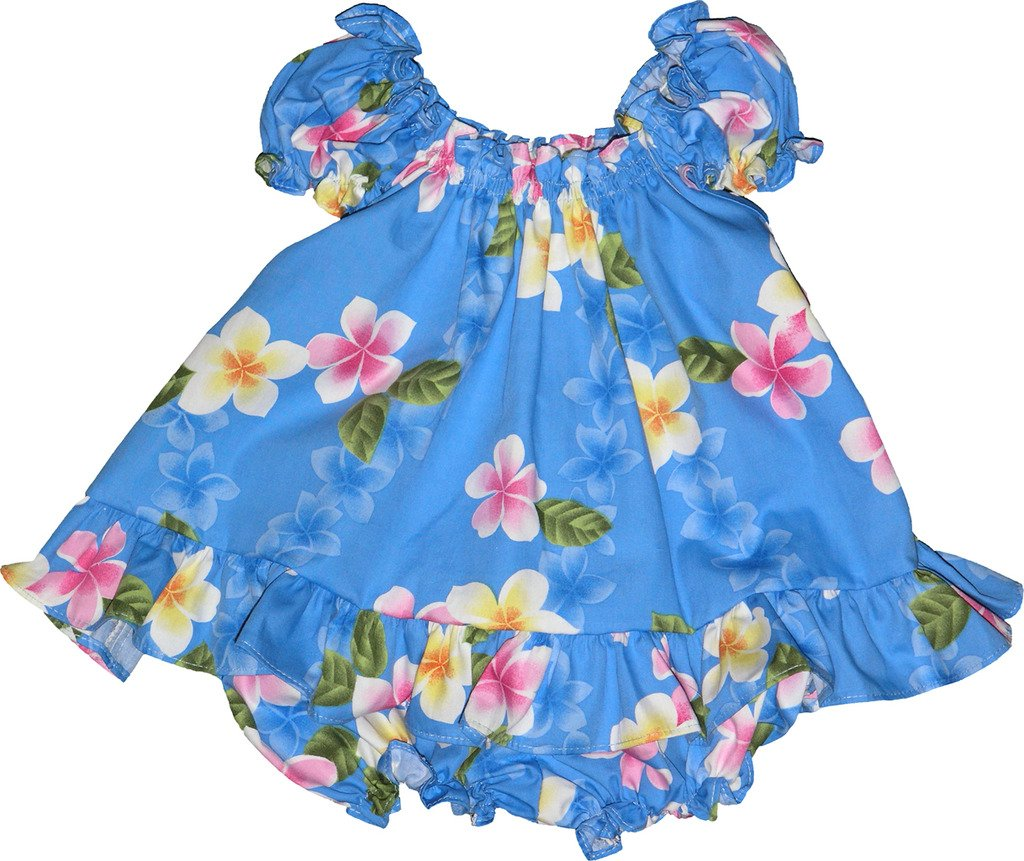 RJC Baby Girl's Cute Plumeria Puff Sleeve Hawaiian 2 Piece Dress Set Blue 4T by RJC (Image #1)