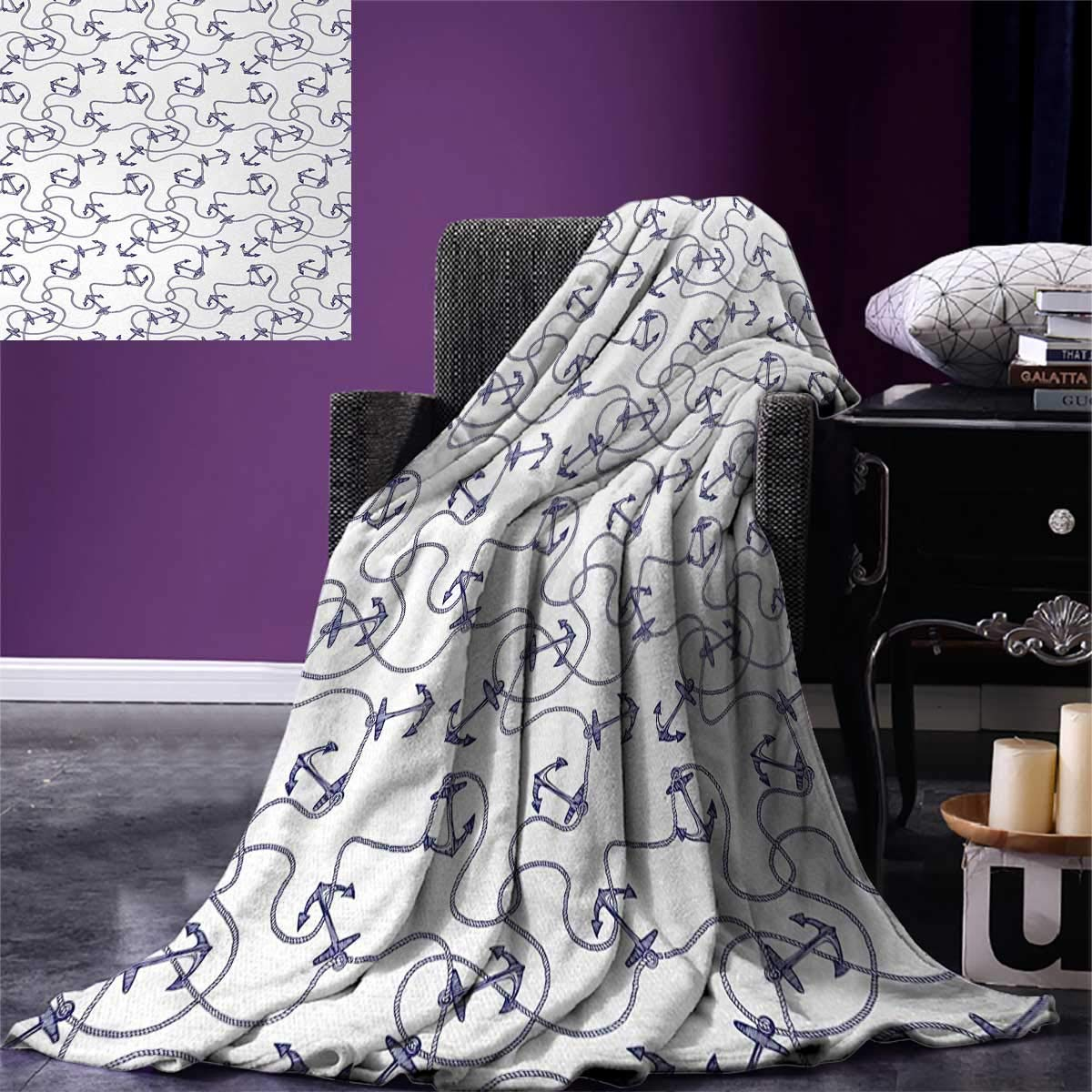 Anchor Digital Printing Blanket Hand Drawn Anchors and Entangled Ropes Nautical Equipment Artwork Monochrome Summer Quilt Comforter 80''x60'' Navy Blue White