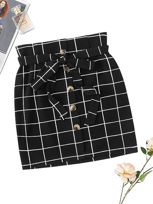 933bbce72c WDIRARA Women's Casual Plaid High Waist Button Closure A-line Mini Short  Skirt at Amazon Women's Clothing store: