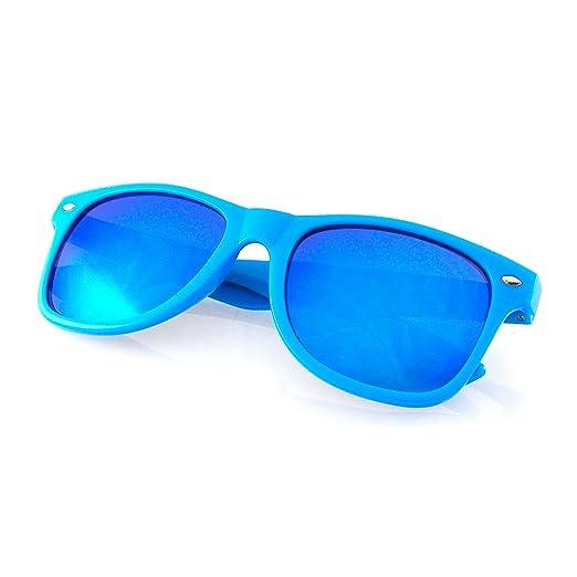 fbe148d6ba Emblem Eyewear - Reflective Flash Color Mirror Reflective Lens Neon  Sunglasses (Blue)
