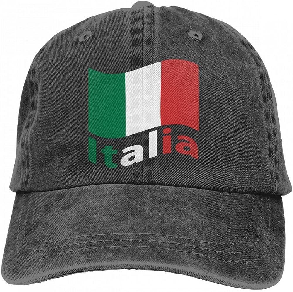 HM66-CAP Italian Flag Mens Womens Adjustable Yarn-Dyed Baseball Cap Dad Hat