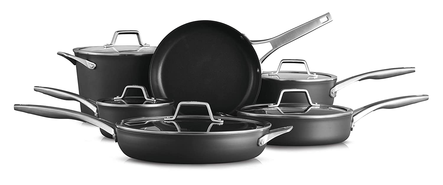 Calphalon 2029626 Premier Hard-Anodized Nonstick 11 Piece Cookware Set, Black