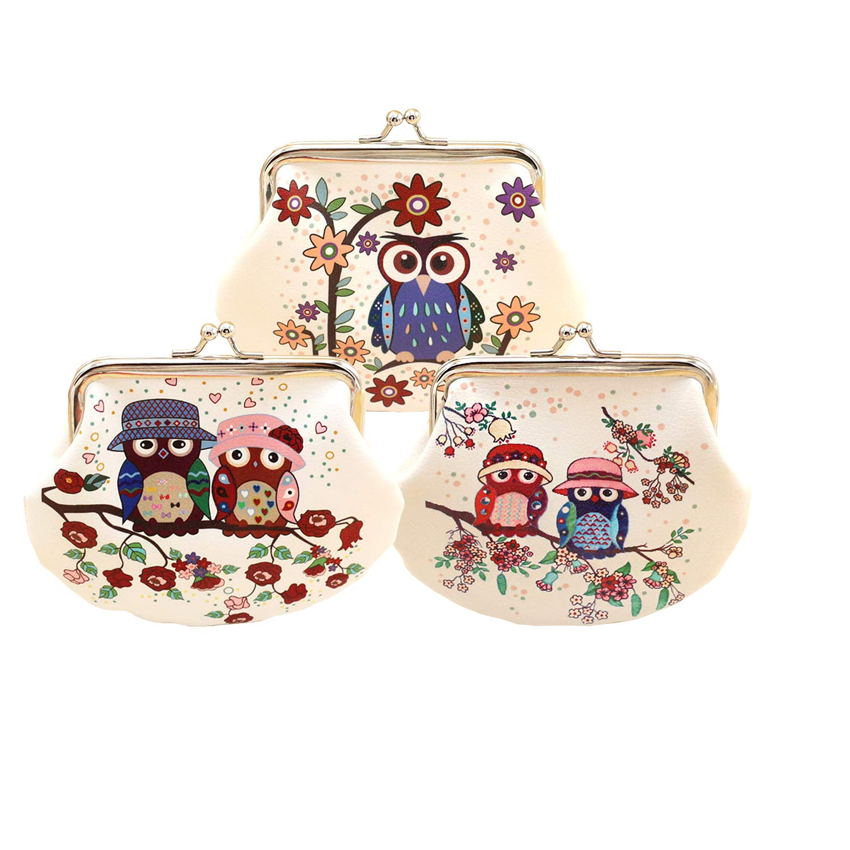 3pcs Cute Cartoon Owl Coin Purse Mini billetera para mujer ...