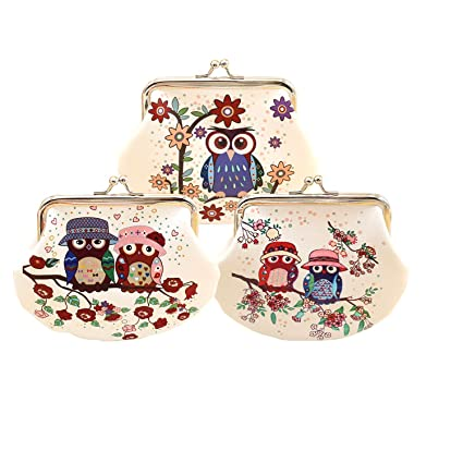 3pcs Cute Cartoon Owl Coin Purse Mini billetera para mujer ...