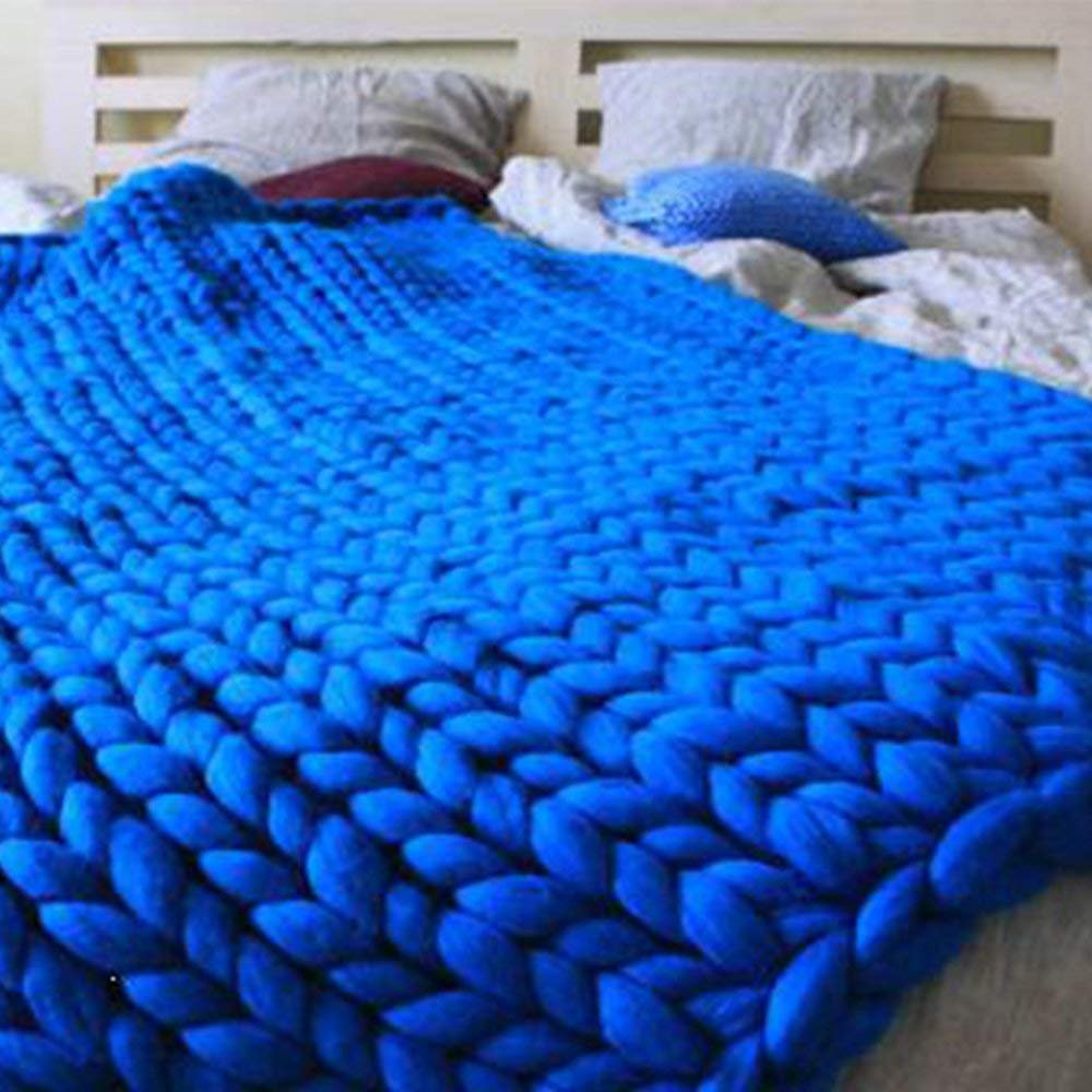 Royal Blue Super Chunky Knit Blanket Merino Wool Blanket 79x79in Handmade Throw Extreme Knitting Chunky Blanket Super Bulky Yarn Throw by Clisil (Image #3)