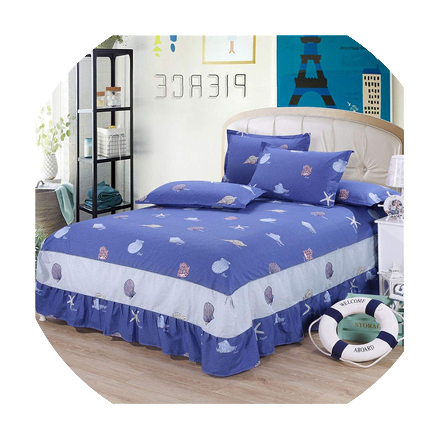 Get-in Cartoon Cotton Kids Bed Skirt Ruffled Princess Bedsheet Bedspreads Thick Fitted Sheet Children Twin Full Queen King Size Covers,Fitted Sheet6,Sheet 200X220Cm