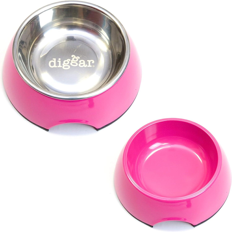 Diggar - Juego de 2 comederos de melamina con Inserto de Acero Inoxidable, Color Rosa o Gris Oscuro, tamaño S, 160 ml