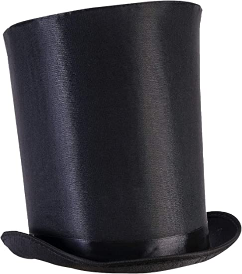 Black Tall Top Hat Kids Adult Magician Fancy Dress victorian lincole ringmaster