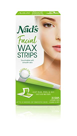 Amazon Com Nad S Facial Wax Strips Hypoallergenic All Skin Types Facial Hair Removal For Women At Home Waxing Kit With 20 Face Wax Strips 4 Calming Oil Wipes Hair Waxing Strips Beauty
