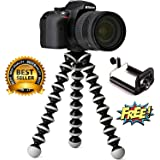 Die Hard Flexible Foldable 13-inch Gorilla Tripod Octopus Stand + Socket Holder Combo for DSLR's, Mobile Camera, Smartphone Use in Photography, Video Recording