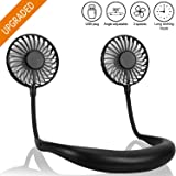 Cevapro Portable Fan Hand Free Mini Fan with Neck Hanging Design USB Battery Rechargeable Personal Desk Fan with Strong Airflow 2 Wind Head for Travel Outdoor Office Home Sports