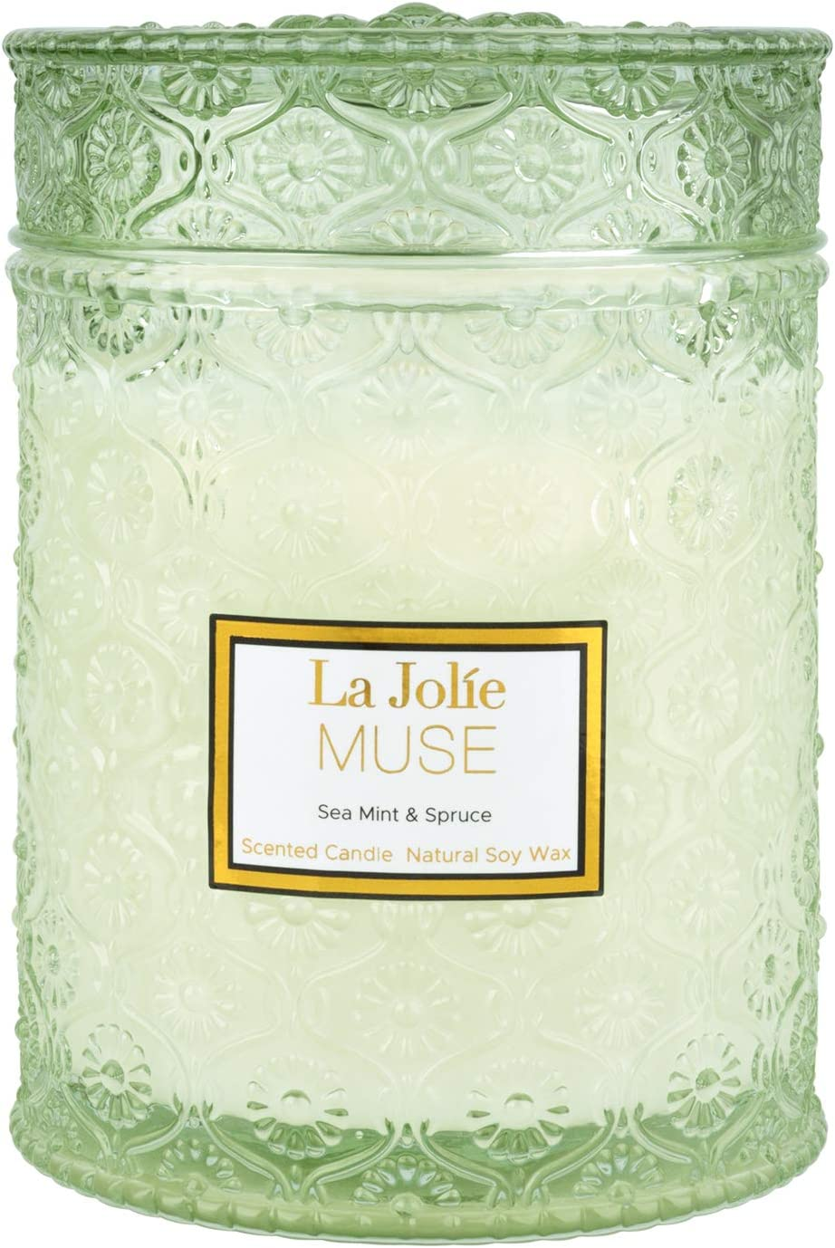 LA JOLIE MUSE Sea Mint & Spruce Scented Candle, Large Jar Candle Gift, Organic Candles, Wood Wick, 19.4 oz