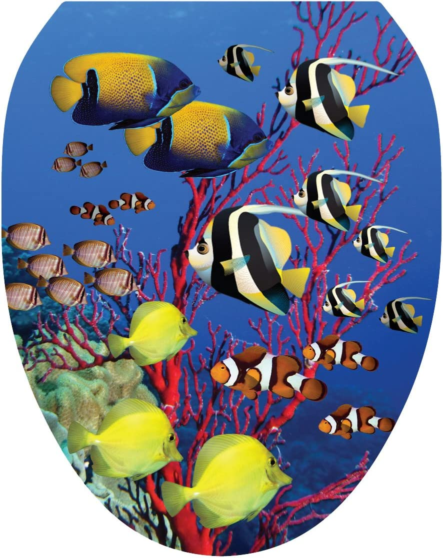 Toilet Tattoos, Toilet Seat Cover Decal, Coral Reef, Size Elongated
