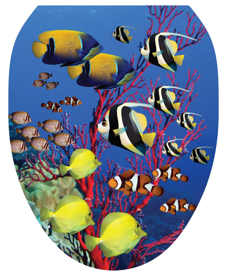 Toilet Tattoos TT-1016-R Coral Reef Decorative Applique For Toilet Lid Round