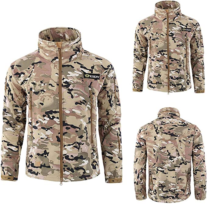 Mens Jacket,Warm Militray Full Zip Sweater Multi-Pocket Windbreaker Breathable Outdoor Overcoat Zulmaliu
