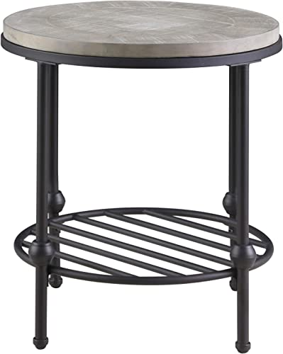 Willis Round End Table in Antique Gray with Wood Top, Metal Base, And Open Storage Shelf, by Artum Hill