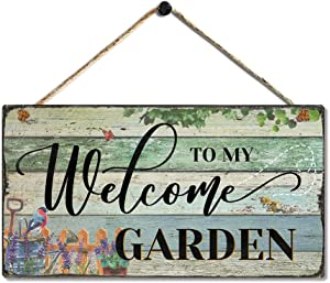SAC SMARTEN ARTS Garden Retro Vintage Wood Garden Signs Decorative Outdoor Flower Home Signs Wall Decor - Welcome to My Garden - Lovely Motivational Quote Home Accessory Sign by 11.5